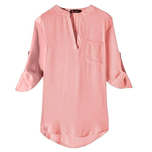 LISTHA V Neck Blouse Women Casual Wrap Front Long Sleeve Loose Basic Shirt Tops D Pink ()