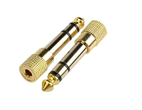 Devinal Professional 6.35mm 1/4 inch Plug to 3.5mm 1/8 inch Jack Gold Plated TRS AUX Stereo Audio Headphone Jack Adapter Converter Connector(2 Pack)