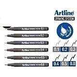 أقلام رسم آرت لاين، مجموعة من 6 أقلام (0.1 مم، 0.2 مم، 0.3 مم، 0.4 مم، 0.5 مم، 0.8 مم)