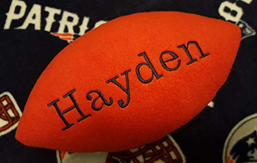 Personalized Handcrafted Fleece Fabric Soft Football Collectible Pillow Toy Plush Stuffed Indoor Ball Made Using New England Patriots Fabric