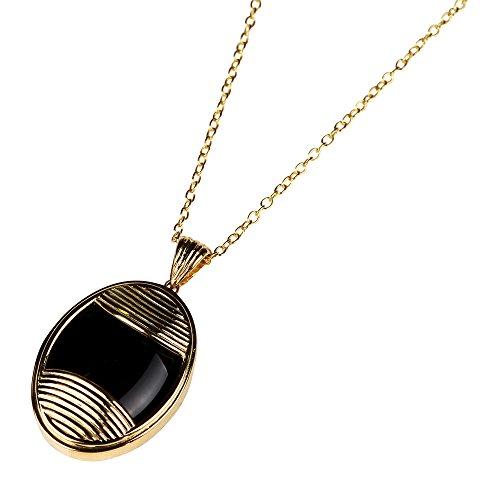 Yuwei Womens Oval Black Onyx Pendant Necklace Black 27