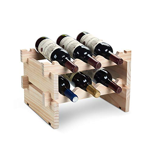 DEFWAY Wood Home Wine Rack - Stackable Storage Wine Holder 6 Bottle Display Free Standing Natural Wooden Shelf for Bar Kitchen (2-Tier Natural Wood)