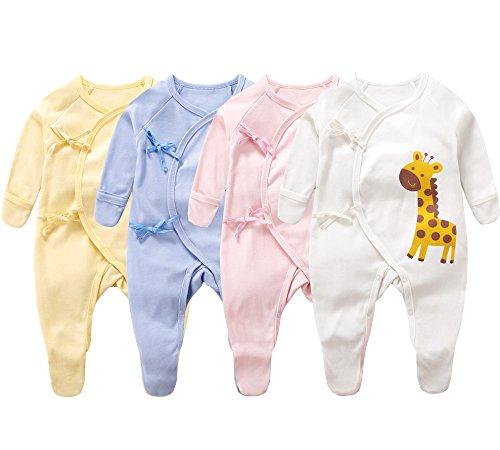Blueleyu Unisex-Baby Long Sleeves Onsies Cotton Baby Bodysuit Pack Cardigan Onsies Infants