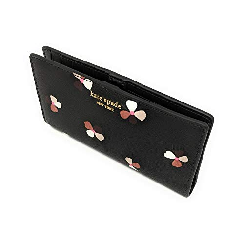 Kate Spade New York Large Slim Bifold Wallet Saffiano Leather Black Buds