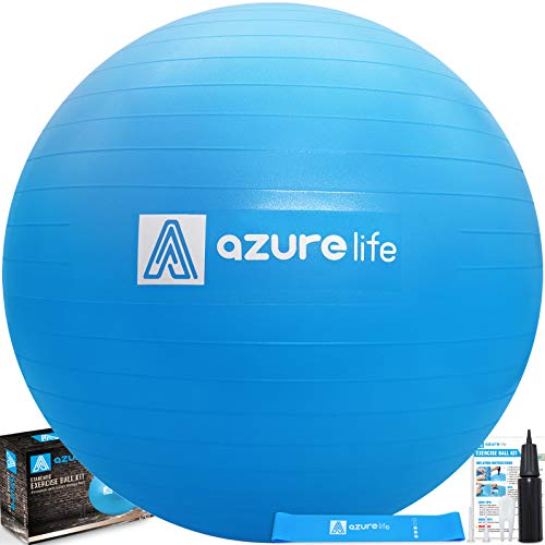 (A AZURELIFE Professional Grade Exercise Ball, Anti-Burst&Non-Slip Stability Balance Ball with Quick Pump Included, Multiple Sizes&Colors, Perfect for Birthing, Yoga, Pilates, Desk Chairs&Therapy)
