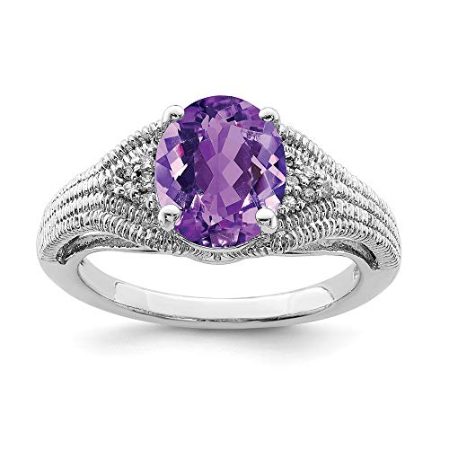 925 Sterling Silver Oval Purple Amethyst Diamond Band Ring Size 7.00 Gemstone Fine Jewelry Gifts For Women For Her