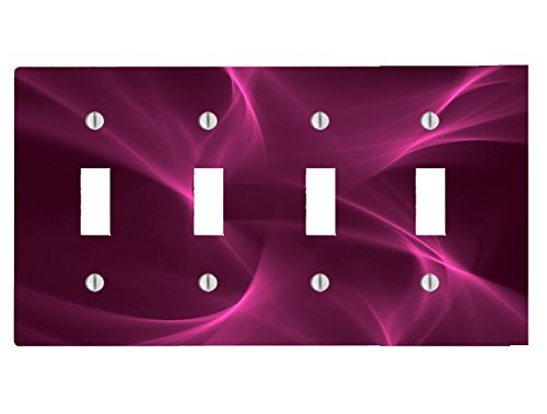 (Swirl Effect Design Violet Purple 4 Toggle Electrical Switch Wall Plate (8.38 x 4.69in))
