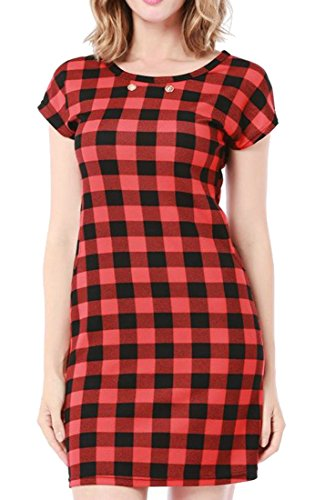 Red3 Classical Midi Women's Office Dress Slim Formal Cromoncent OL Summer Plaid SvE8pOnwq