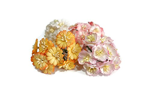 n.4 80 pcs Mini Rose Mixed Pink, White,Light Violet Colors Mulberry Paper Flower 20mm Scrapbooking Wedding Doll House Supplies Card by' Thai Decorated