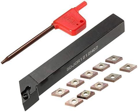 Qualitäts-CNC-Drehmaschine Werkzeug-Zubehör Drehmaschine Drehwerkzeughalter Bohrstange mit 10pcs DCMT0702 Insert 12x100mm SDJCR1212H07