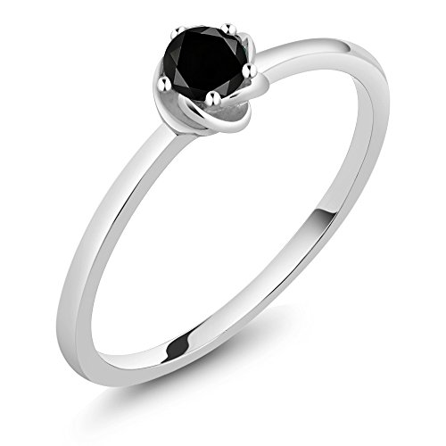 0.17 Ct Diamond (10K White Gold 0.17 Ct Round Black Diamond Solitaire Engagement Ring (Ring Size 6))