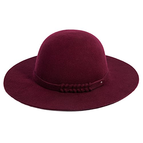 Siggi Woman 100% Wool Felt Top Hat Big Brim Winter Fedora Hats for Women Burgundy by SIGGI (Image #2)