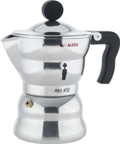 Alessi AAM33/3 Moka Stove Top Espresso 3 Cup Coffee Maker in Aluminium Casting Handle And Knob in Thermoplastic Resin, Black by Alessi by Alessi