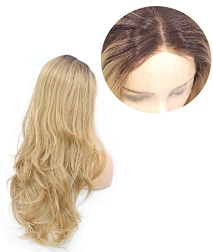 Zenith Dark Brown Rooted Light Blonde Lace Front Wigs for Women Best Synthetic Hair Wavy Wig with Flawless Hairline 24 inches Heat Safe by Zenith (Image #4)