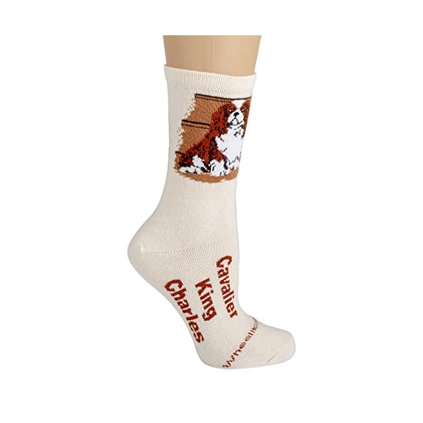 English Springer Spaniel Cream Ultra Lightweight Cotton Dog Breed Crew Socks (One Size Fits Most) Made in USA 2