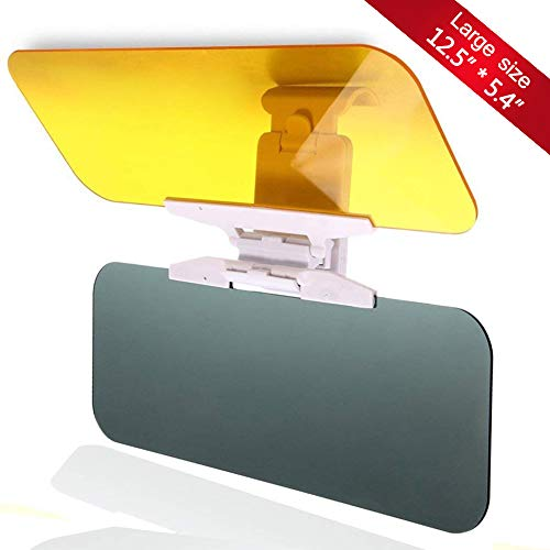 (JSword Car Sun Visor Extender, Day and Night Vision Anti-Glare Driving Visor, 2 in 1 Sun Blocker for Eye Protector, Universal Automobile Anti-Dazzle Sunshade Windshield Extension for Cars,)