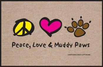 High Cotton Peace Love Paws Indoor / Outdoor Doormat - Love Door Mat