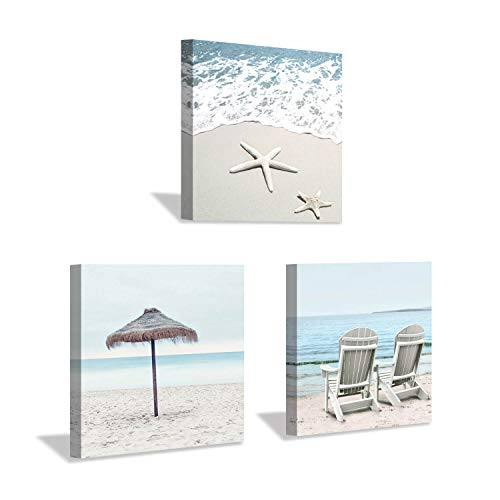 Beach Theme Canvas Wall Art: Sun Umbrella Starfish & Beach Chair on Sand Artwork Painting Print for Bedroom Office (12'' x 12'' x 3 Panels)