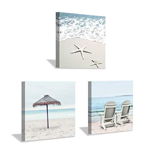 Beach Theme Canvas Wall Art: Sun Umbrella Starfish & Beach Chair on Sand Artwork Painting Print for Bedroom Office (12'' x 12'' x 3 Panels) (Art Beach Large Wall)