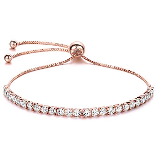 J.Fée Women Bracelets Rose Gold Bracelet Diamond Crystal Bracelet Adjustable Tennis Bracelet Shining Luxury Jewelry with Gift Box Rose Gold Girl Zircon Bracelet Birthday for Mom