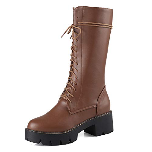 f23ce0089f8 T-JULY Zip Up Ankle High Boots for Women Shoes Platform Chunky Heels Add  Fur Winter Slip on Dress Shoes Boots