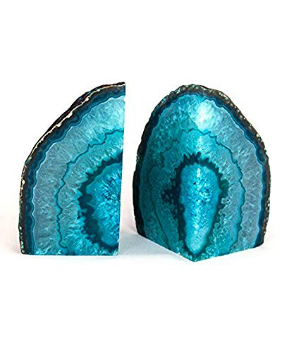 AMOYSTONE Agate Bookends Teal Pair 2-3 lbs Dyed Cut Agate...