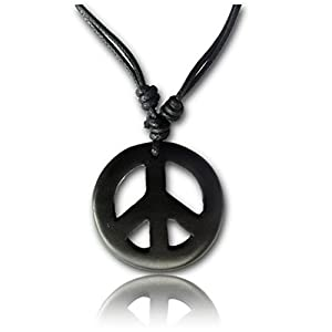 Earth Accessories Adjustable Peace Sign Pendant Necklace with Organic Wood – Hippie Accessories and Hippie Costume for 60s or 70s