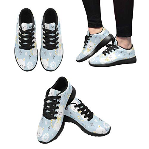 Kittens and Outdoors 4 Shoes Sneakers InterestPrint White Flowers Running Design Women's 4a7T0