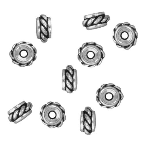 - TierraCast Fine Silver Plated Pewter Twisted Hole Spacer Beads 6mm (10)