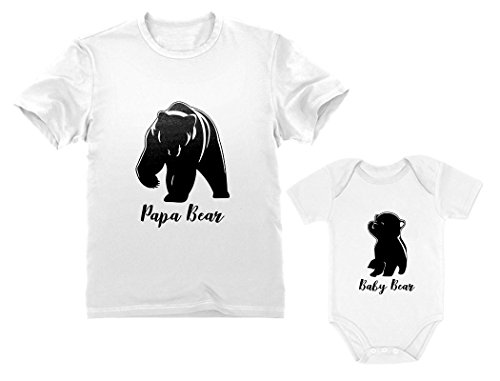 Papa & Baby Bear Men's T-Shirt & Baby Bodysuit Outfit Father & Son Matching Set Dad White Small/Baby White 12M (6-12M)