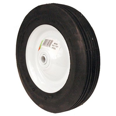 MaxPower 335181 8 Inch x 1.75 Inch Steel Wheel with 1/2 Inch Bore, 2 Inch Centered Hub and Rib Tread ()