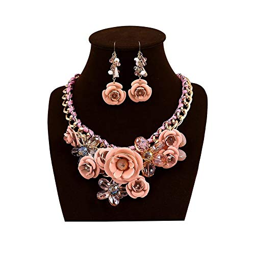 (HoBST Floral Flower Statement Necklace and Earring Set Choker Chunky Gold Plated Chain Pendant Jewelry (Light Pink))