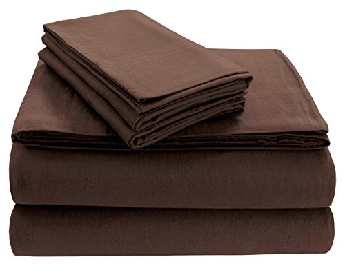 Tribeca Living SOLFL170SSQUCH Solid 5-Ounce Flannel Extra Deep Pocket Sheet Set Queen Chocolate,