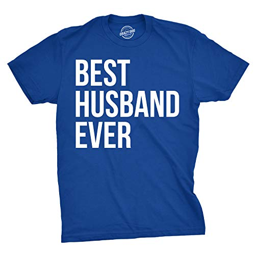 Mens Best Husband Ever T Shirt Funny Novelty Sincere Valentines Day Tee for Guys (Blue) - M ()