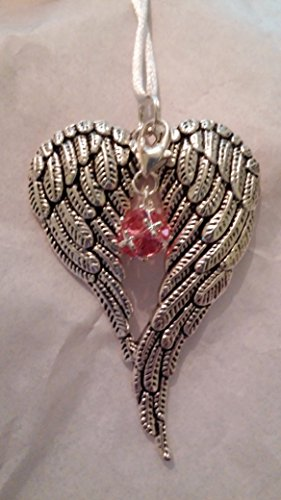 October Birthstone Angel Wings Memorial Christmas Ornament Sympathy Gift