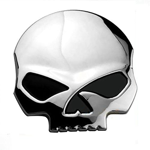 CLKJDZ 3D Metal Decal Sticker Skull Bone Devil Emblem Badge Auto Chrome Car Motorcycle (1 PCS, (Bull Skull Emblem)