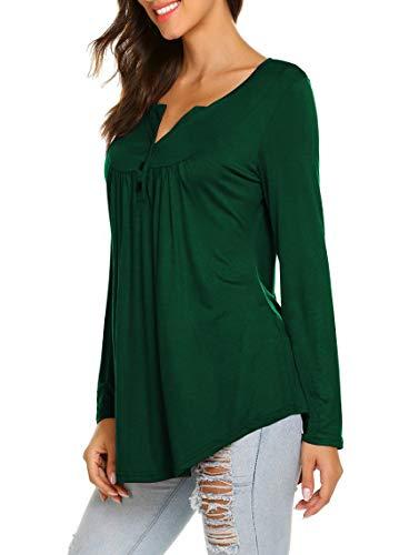 WANGZHI Women's Casual Shirts Long Sleeve Button up Henley T-Shirt Tunic Tops Blouses (L, 01-Dark Green) by WANGZHI (Image #2)