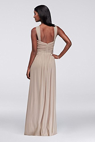 W11173 Long Bridesmaid Bridal Neck Y Dress David's Style Tickled Mesh qx8tAxf