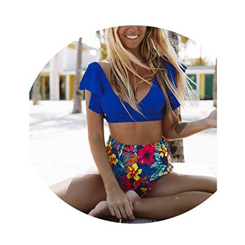 2019 Swimwear Women High Waist Bikini Swimsuit Ruffle Bikinis Set Print Bathing Suit Halter Beachwear,MAG18126B1,M