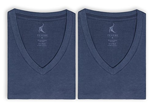 Texere Men's V-Neck 2 Pack Undershirt (Meio, Air Force Blue, S) Best