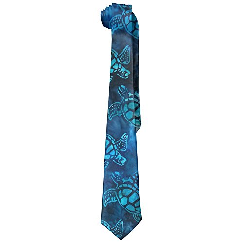 Watercolor Blue Sea Turtle Men's Tie Long Necktie Skinny Neckwear Silk
