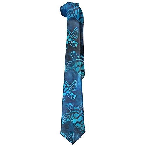 Watercolor Blue Sea Turtle Men's Tie Long Necktie Skinny Neckwear ()