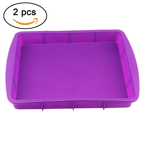 Orgrimmar Baking Silicone Rectangular Cake Pans Bakeware Bread Baking Mold NonStick Easy Demoulding Purple 2Packs (Pack of 2)