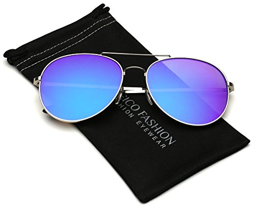 Flat Lens Oversized Mirrored Aviator Sunglasses (L-XL size - Sunglasses Heads Big For Cheap
