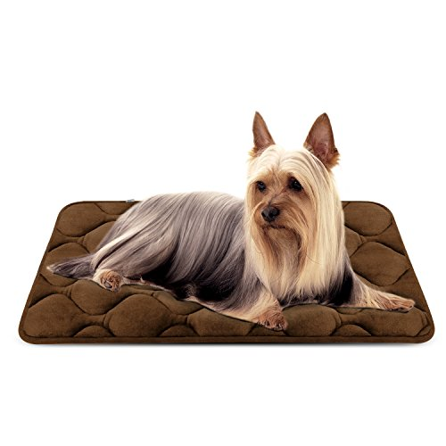 Dog Bed Mat Washable - Soft Fleece Crate Pad - Anti-Slip Matress Small Medium Large Pets (Coffee S) (Xx Small Teacup Toy)