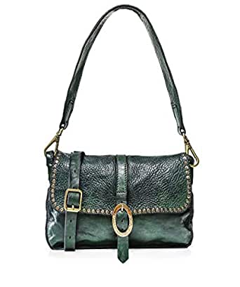 Campomaggi Women's Studded Leather Shoulder Bag One Size Green