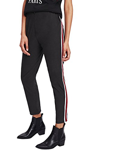 Slim Stripe Pant (SweatyRocks Women's Elastic Waist Stripe Tape Side Capris Pants Loose Casual Long Pants Black L)