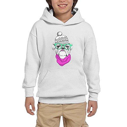 Gakivcdf Teens Girls Cute Stylish Old Bulldog In White Hat Funny Hoodies Front Pocket Sweatshirts -