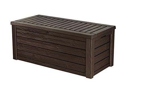 Keter Westwood Plastic Deck Storage Container Box Outdoor Patio Garden Furniture 150 Gal, Brown (Small Storage Wood Bench)