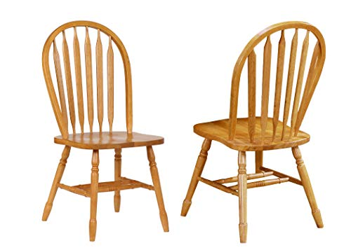 Sunset Trading Arrowback Dining Chair, Set of 2, 38″, Light Oak